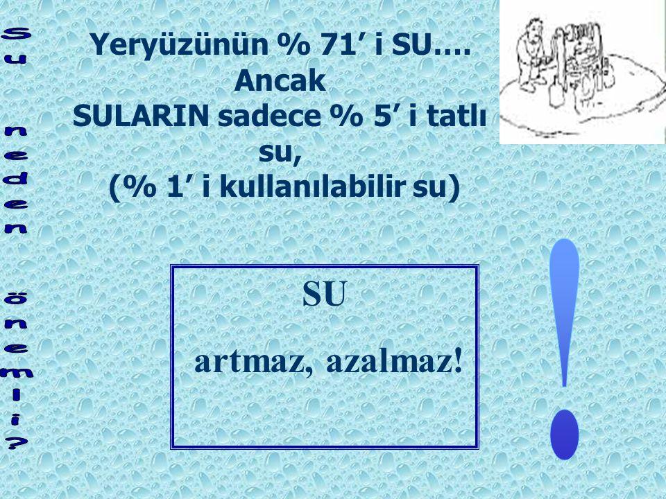 SULARIN sadece % 5' i tatlı su, (% 1' i kullanılabilir su)