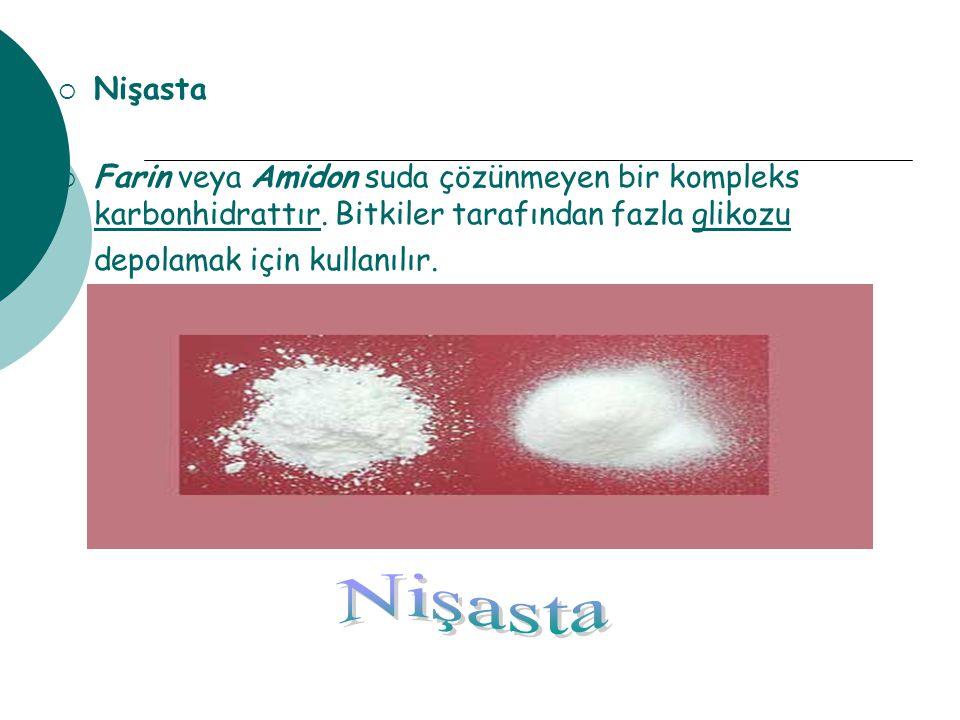 Nişasta Farin veya Amidon suda çözünmeyen bir kompleks karbonhidrattır. Bitkiler tarafından fazla glikozu depolamak için kullanılır.
