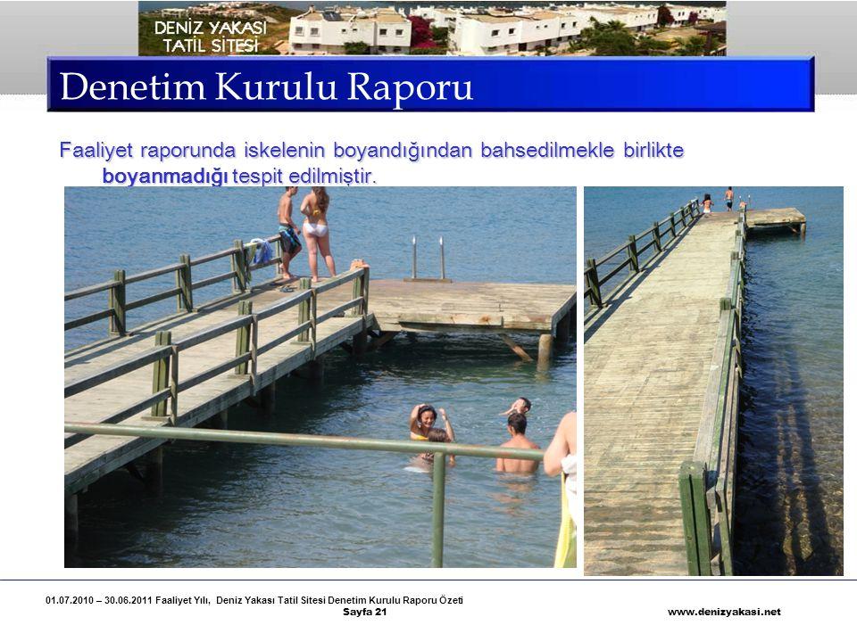 Denetim Kurulu Raporu Faaliyet raporunda iskelenin boyandığından bahsedilmekle birlikte boyanmadığı tespit edilmiştir.