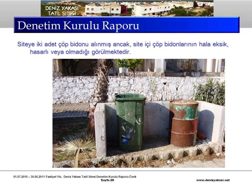Denetim Kurulu Raporu Siteye iki adet çöp bidonu alınmış ancak, site içi çöp bidonlarının hala eksik, hasarlı veya olmadığı görülmektedir.