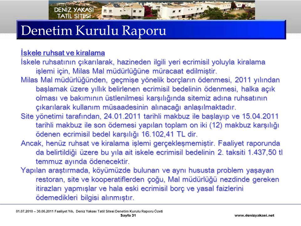 Denetim Kurulu Raporu İskele ruhsat ve kiralama