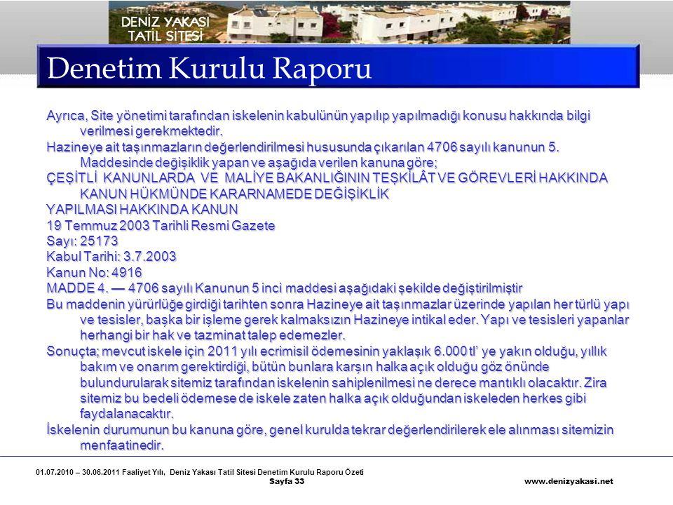 Denetim Kurulu Raporu Ayrıca, Site yönetimi tarafından iskelenin kabulünün yapılıp yapılmadığı konusu hakkında bilgi verilmesi gerekmektedir.