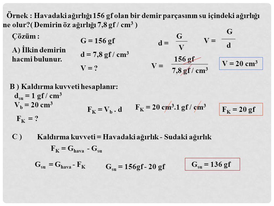 Örnek : Havadaki ağırlığı 156 gf olan bir demir parçasının su içindeki ağırlığı ne olur ( Demirin öz ağırlığı 7,8 gf / cm3 )
