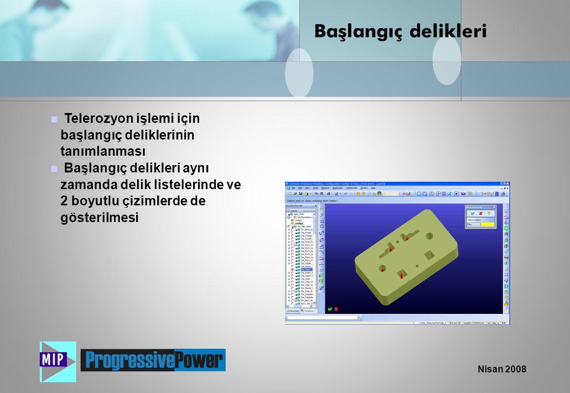 Başlangıç delikleri Telerozyon işlemi için başlangıç deliklerinin tanımlanması.