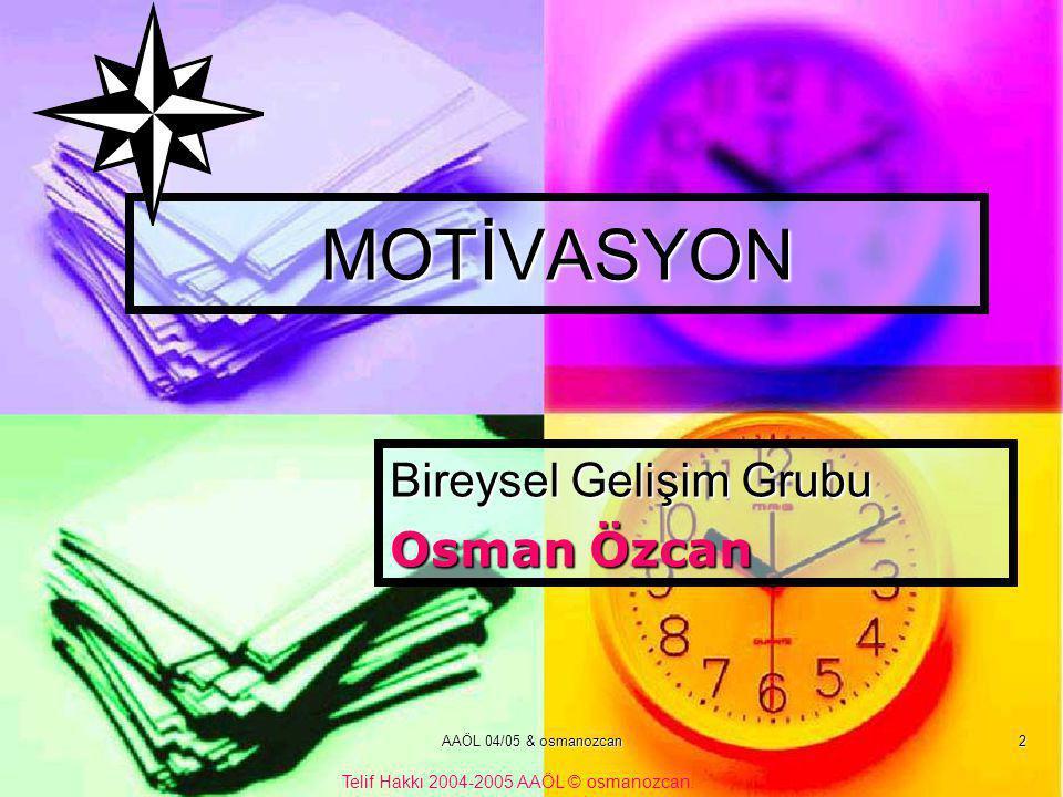 Bireysel Gelişim Grubu Osman Özcan