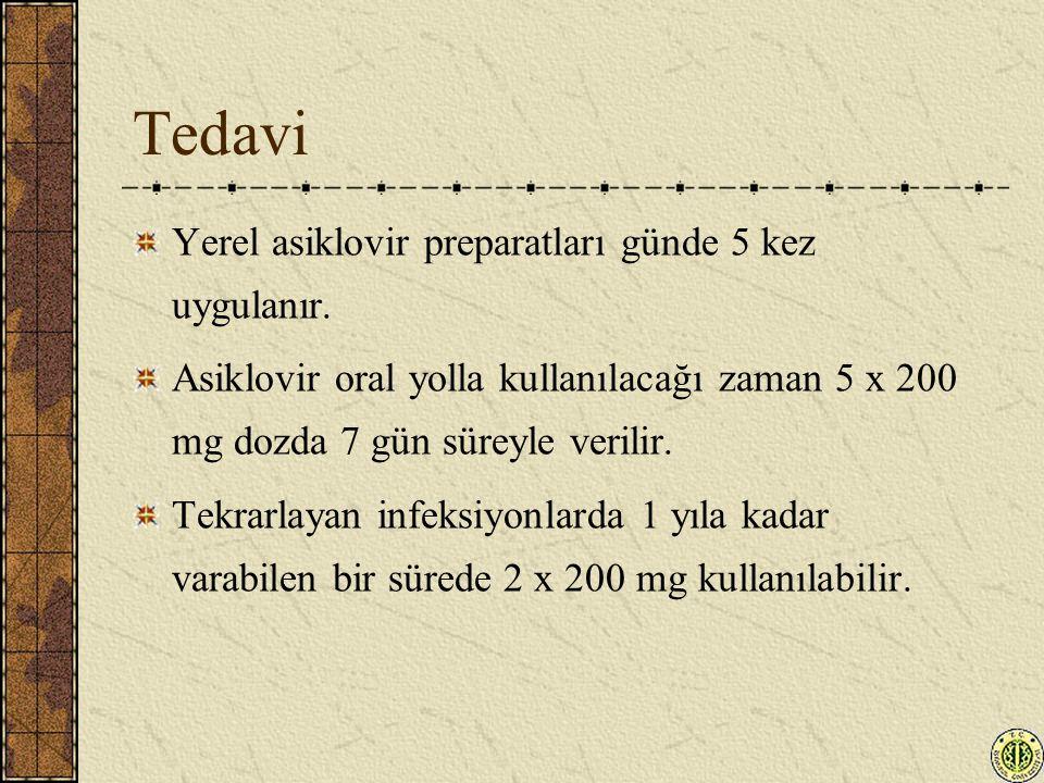 Tedavi Yerel asiklovir preparatları günde 5 kez uygulanır.
