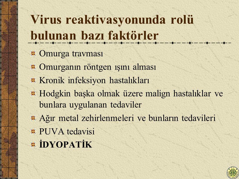 Virus reaktivasyonunda rolü bulunan bazı faktörler