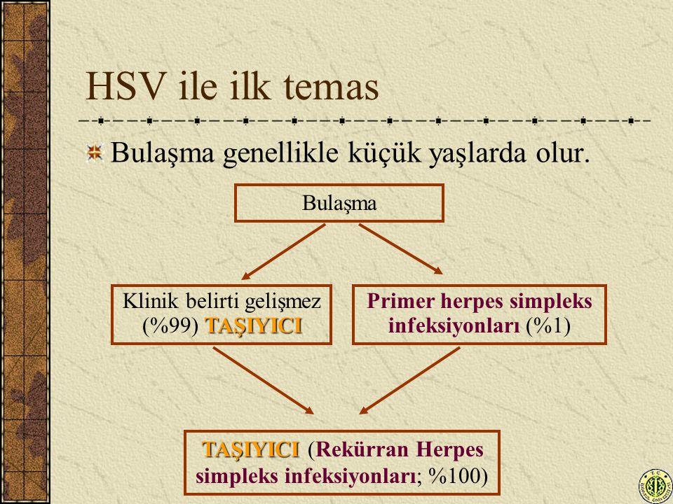 HSV ile ilk temas Bulaşma genellikle küçük yaşlarda olur. Bulaşma