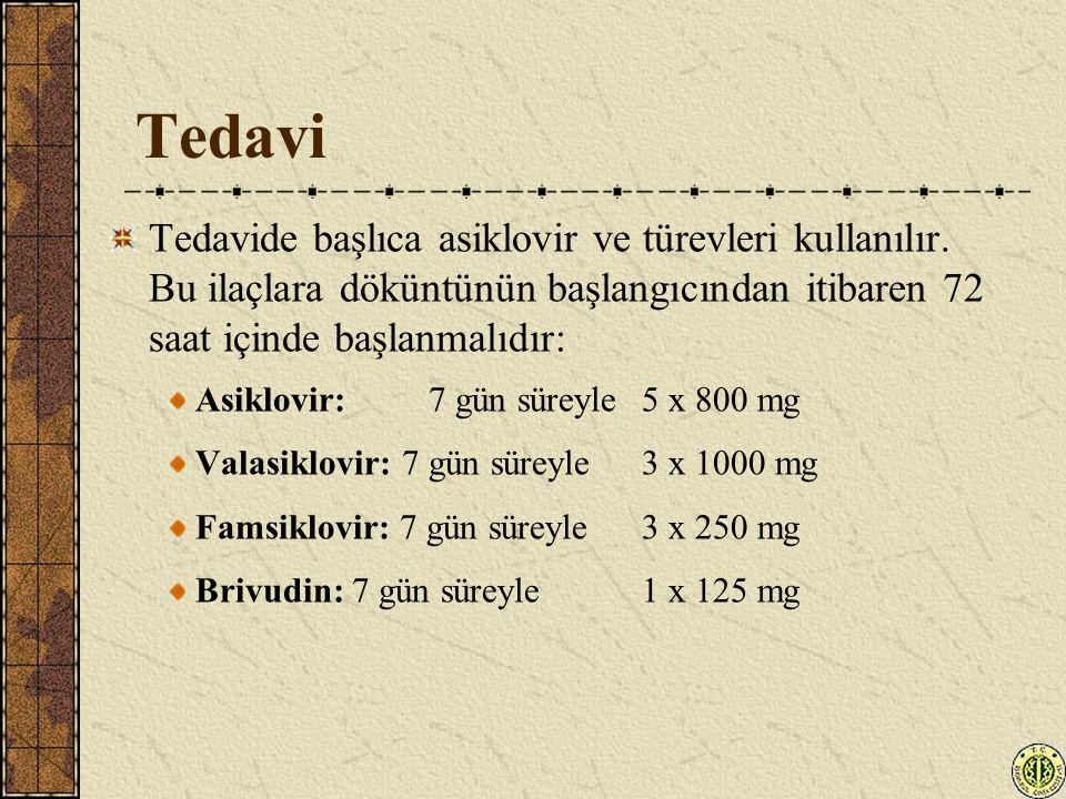 Tedavi Tedavide başlıca asiklovir ve türevleri kullanılır. Bu ilaçlara döküntünün başlangıcından itibaren 72 saat içinde başlanmalıdır: