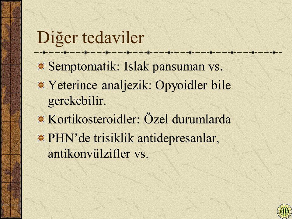 Diğer tedaviler Semptomatik: Islak pansuman vs.
