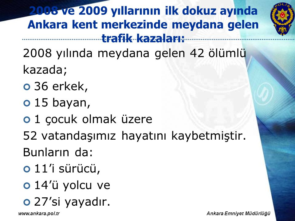 2008 yılında meydana gelen 42 ölümlü kazada; 36 erkek, 15 bayan,