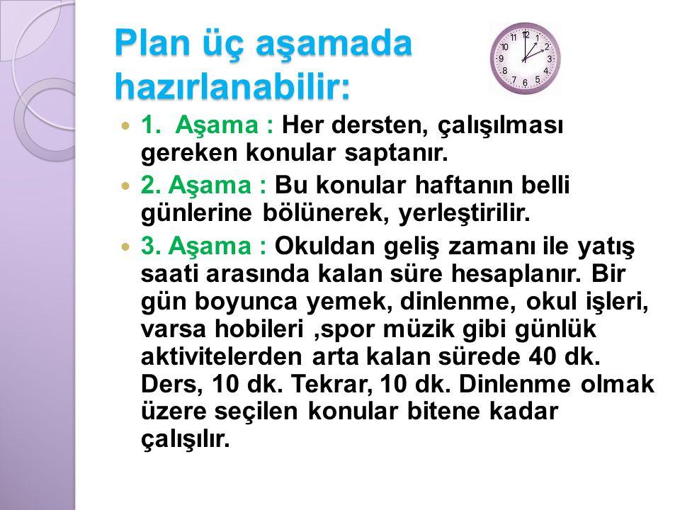 Plan üç aşamada hazırlanabilir: