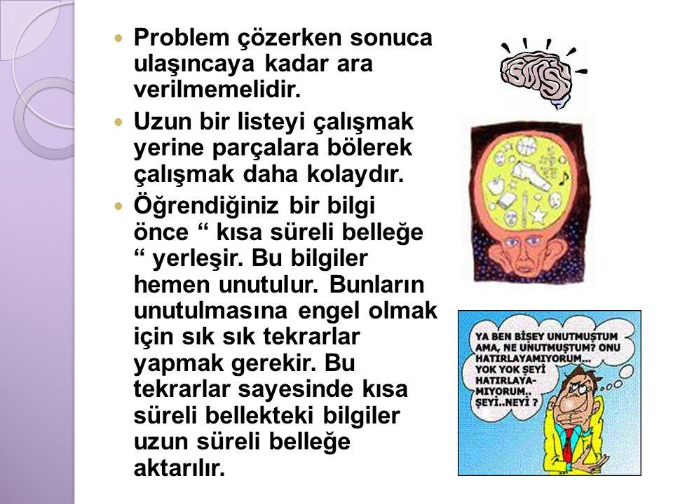 Problem çözerken sonuca ulaşıncaya kadar ara verilmemelidir.
