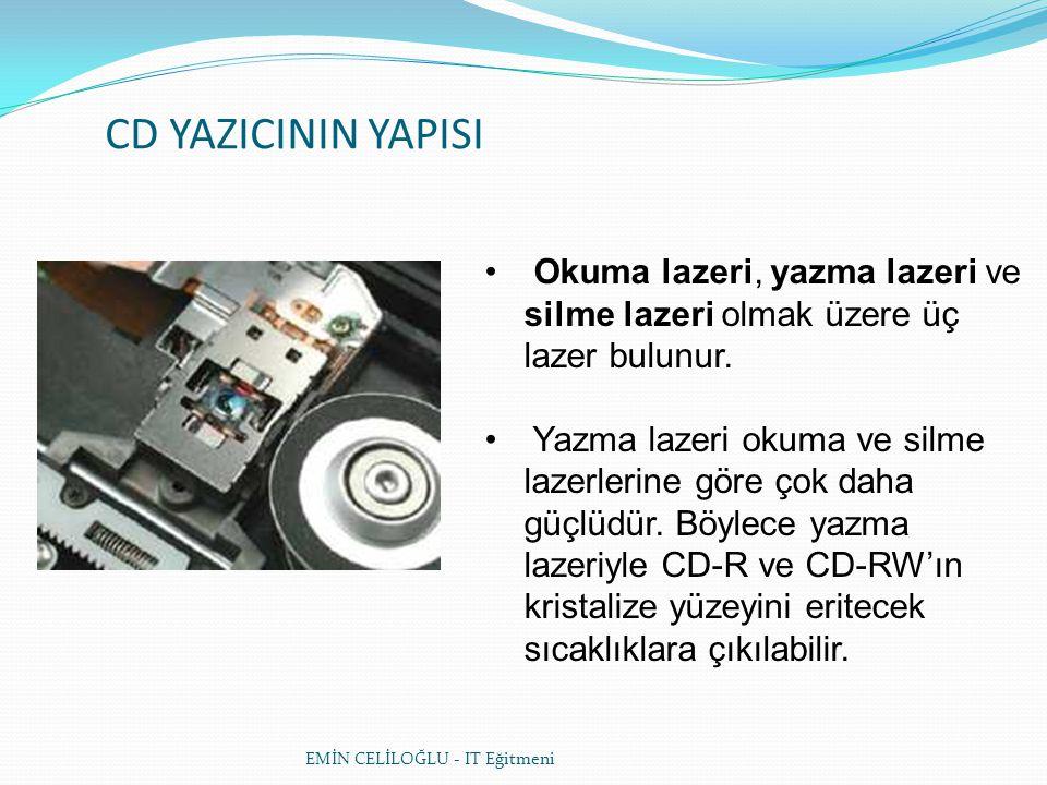 CD YAZICININ YAPISI Okuma lazeri, yazma lazeri ve silme lazeri olmak üzere üç lazer bulunur.