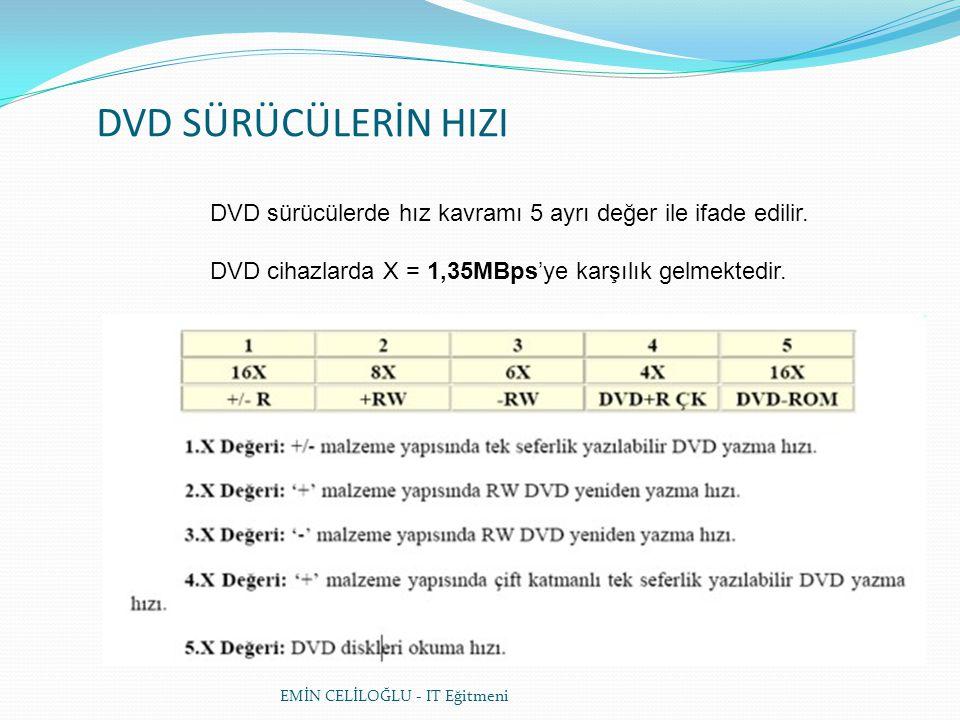 DVD SÜRÜCÜLERİN HIZI DVD sürücülerde hız kavramı 5 ayrı değer ile ifade edilir. DVD cihazlarda X = 1,35MBps'ye karşılık gelmektedir.