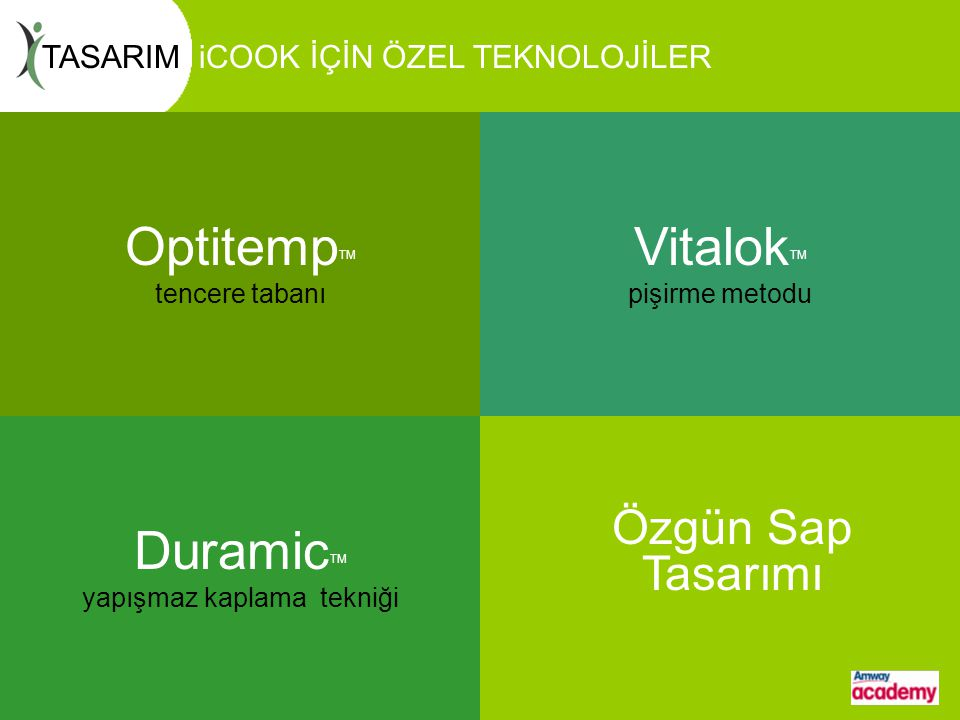 OptitempTM tencere tabanı VitalokTM pişirme metodu