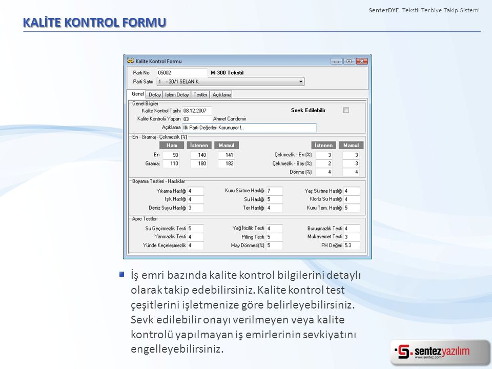 SentezDYE Tekstil Terbiye Takip Sistemi