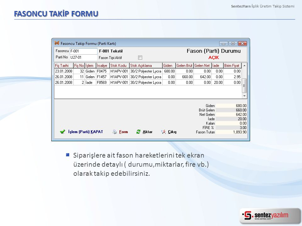 SentezYarn İplik Üretim Takip Sistemi