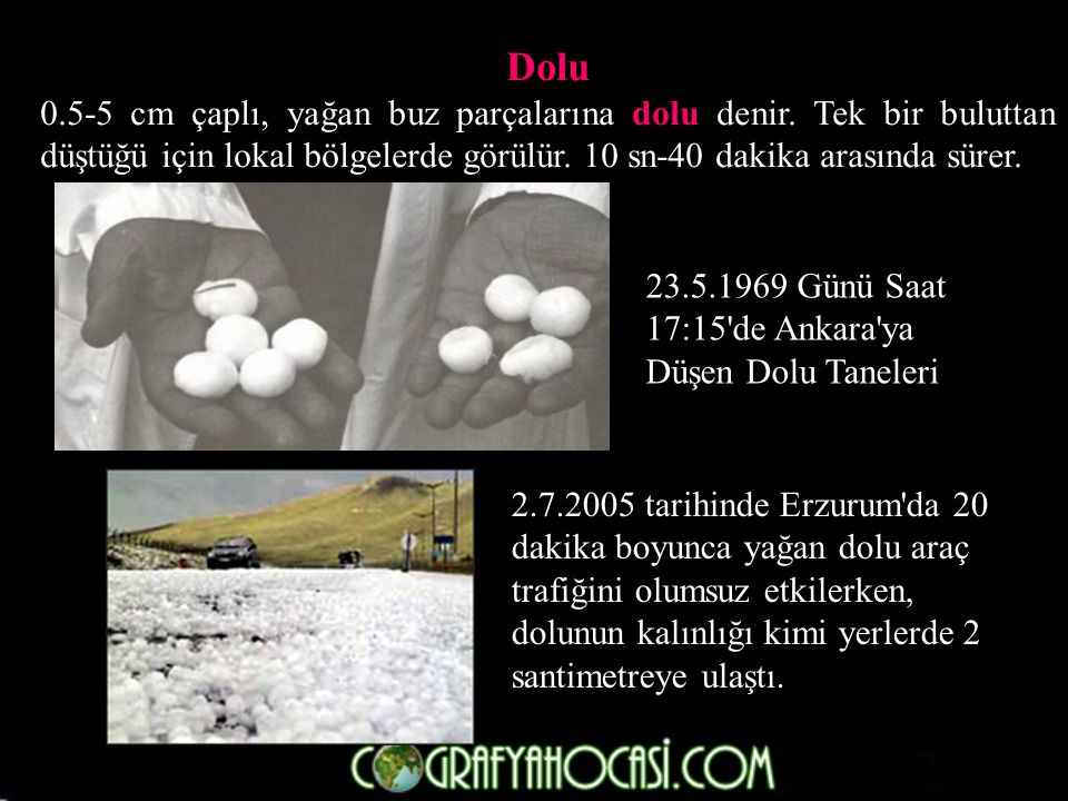 Dolu 0.5-5 cm çaplı, yağan buz parçalarına dolu denir. Tek bir buluttan düştüğü için lokal bölgelerde görülür. 10 sn-40 dakika arasında sürer.