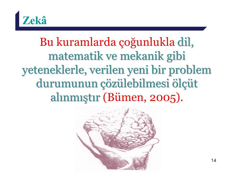 Bu kuramlarda çoğunlukla dil, matematik ve mekanik gibi yeteneklerle, verilen yeni bir problem durumunun çözülebilmesi ölçüt alınmıştır (Bümen, 2005).