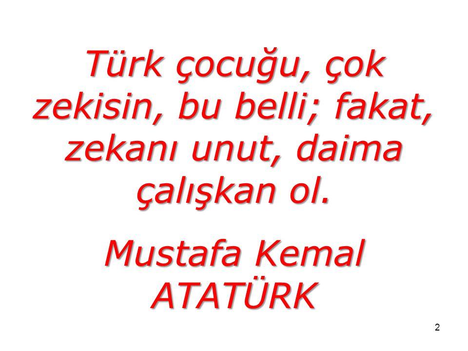 Türk çocuğu, çok zekisin, bu belli; fakat, zekanı unut, daima çalışkan ol.