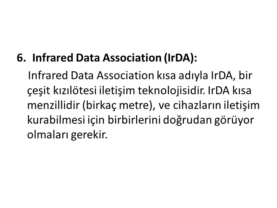 Infrared Data Association (IrDA):