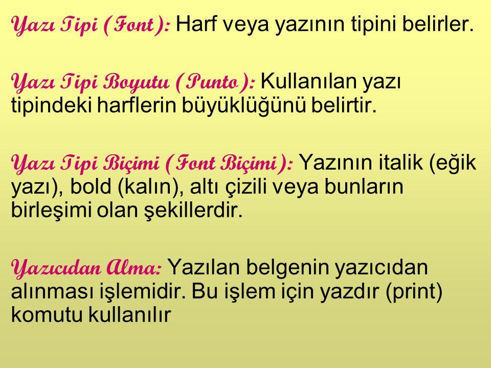Yazı Tipi (Font): Harf veya yazının tipini belirler.