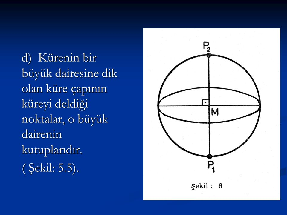 d) Kürenin bir büyük dairesine dik olan küre çapının küreyi deldiği noktalar, o büyük dairenin kutuplarıdır.