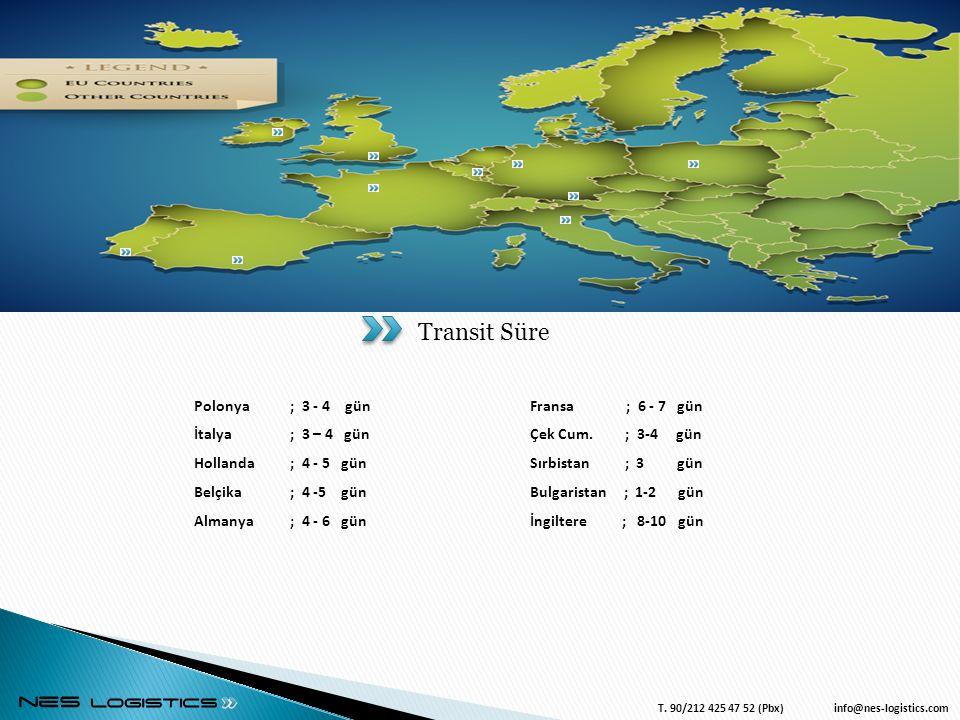 4/3/2017 Transit Süre Polonya ; 3 - 4 gün İtalya ; 3 – 4 gün