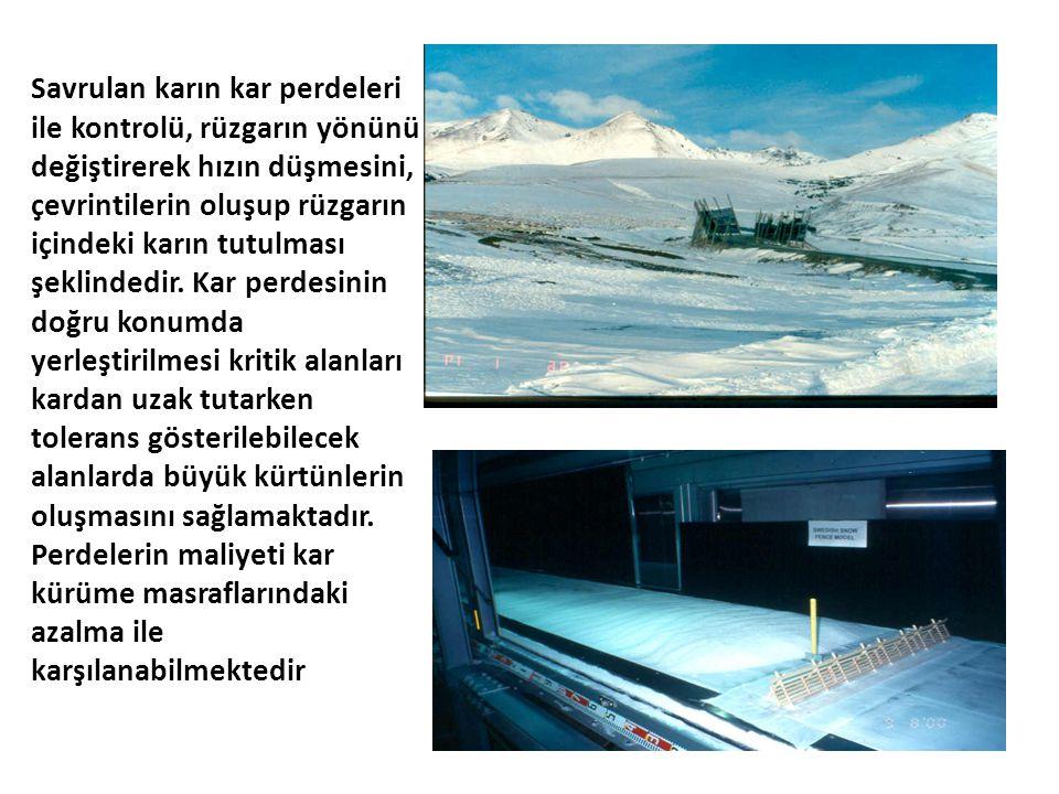 Savrulan karın kar perdeleri ile kontrolü, rüzgarın yönünü değiştirerek hızın düşmesini, çevrintilerin oluşup rüzgarın içindeki karın tutulması şeklindedir.
