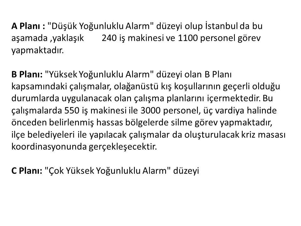A Planı : Düşük Yoğunluklu Alarm düzeyi olup İstanbul da bu aşamada ,yaklaşık 240 iş makinesi ve 1100 personel görev yapmaktadır.