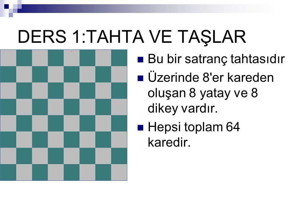 DERS 1:TAHTA VE TAŞLAR Bu bir satranç tahtasıdır