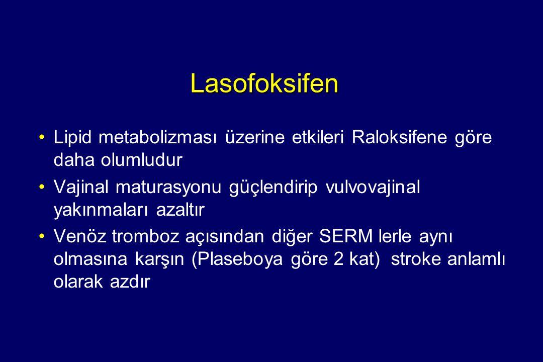 Lasofoksifen Lipid metabolizması üzerine etkileri Raloksifene göre daha olumludur. Vajinal maturasyonu güçlendirip vulvovajinal yakınmaları azaltır.