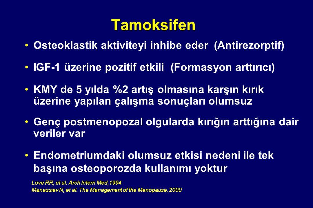 Tamoksifen Osteoklastik aktiviteyi inhibe eder (Antirezorptif)