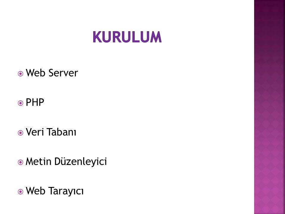 kurulum Web Server PHP Veri Tabanı Metin Düzenleyici Web Tarayıcı