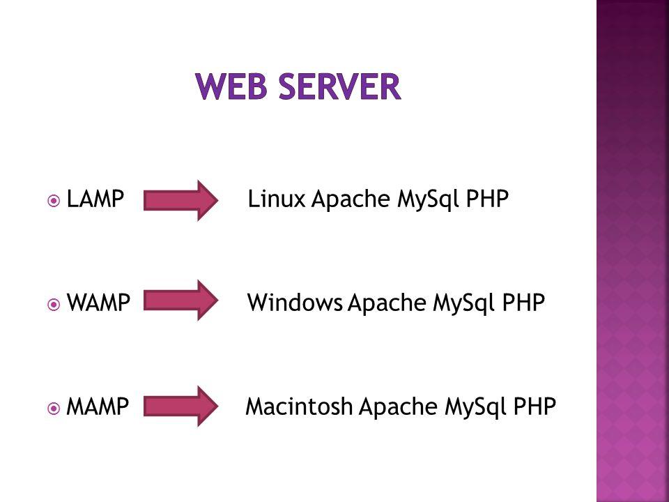Web server LAMP Linux Apache MySql PHP WAMP Windows Apache MySql PHP