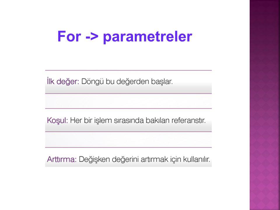 For -> parametreler