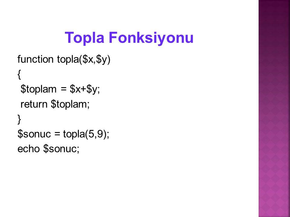 Topla Fonksiyonu function topla($x,$y) { $toplam = $x+$y;