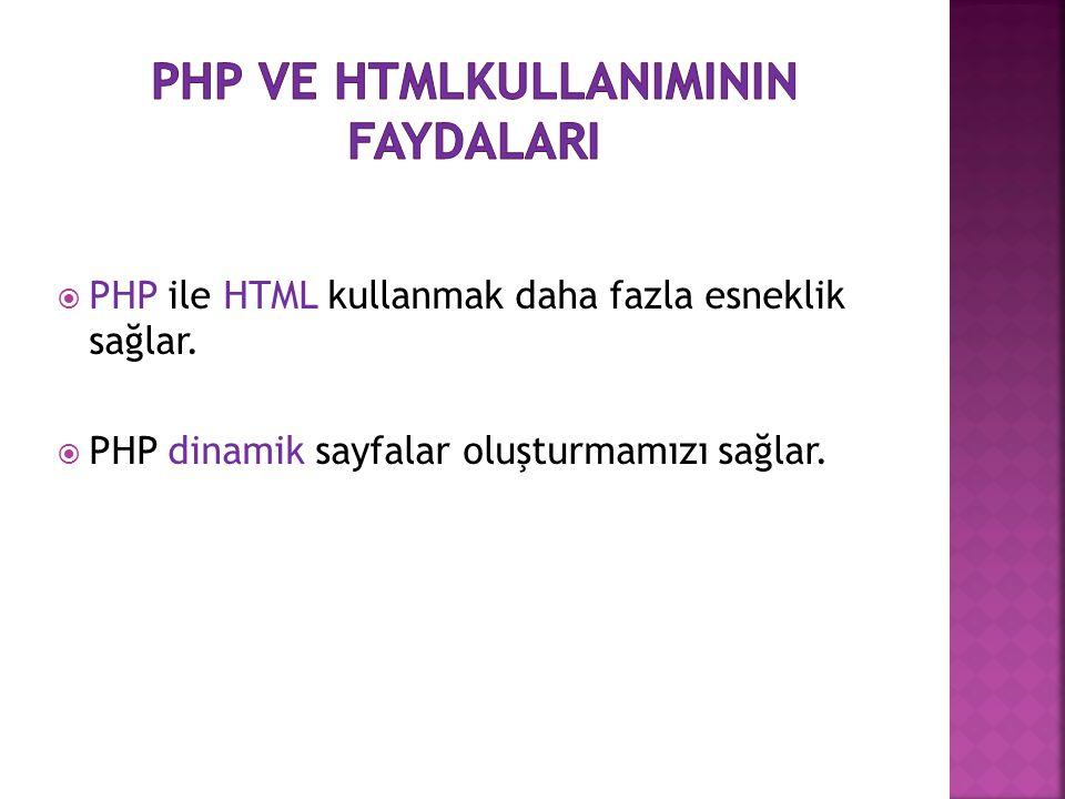 Php ve htmlKULLANIMININ faydalarI
