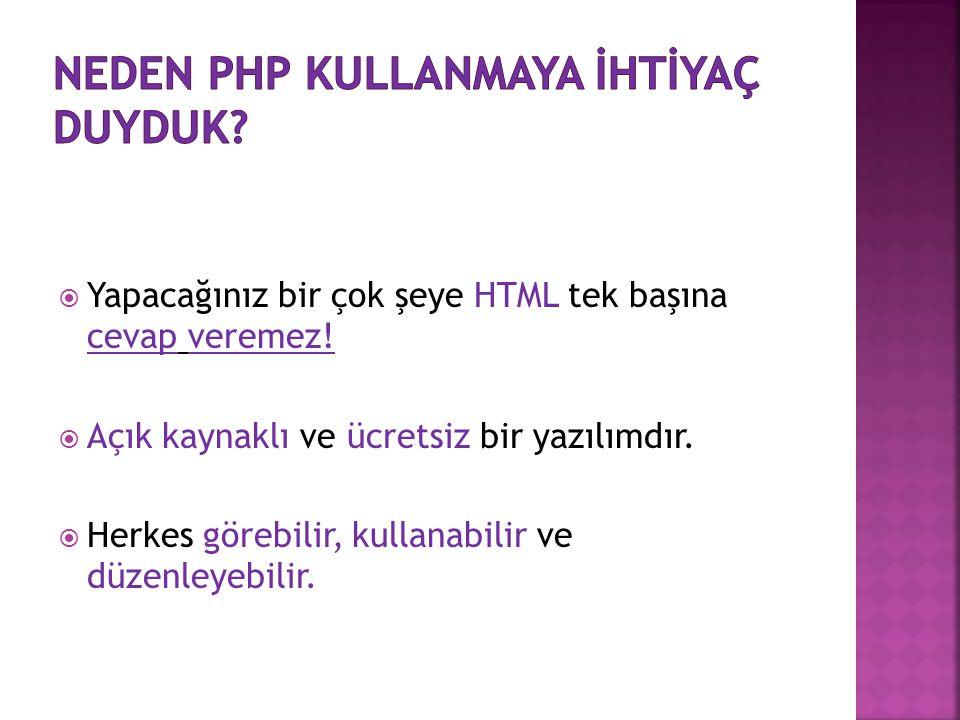 Neden php kullanmaya İhtİyaç duyduk