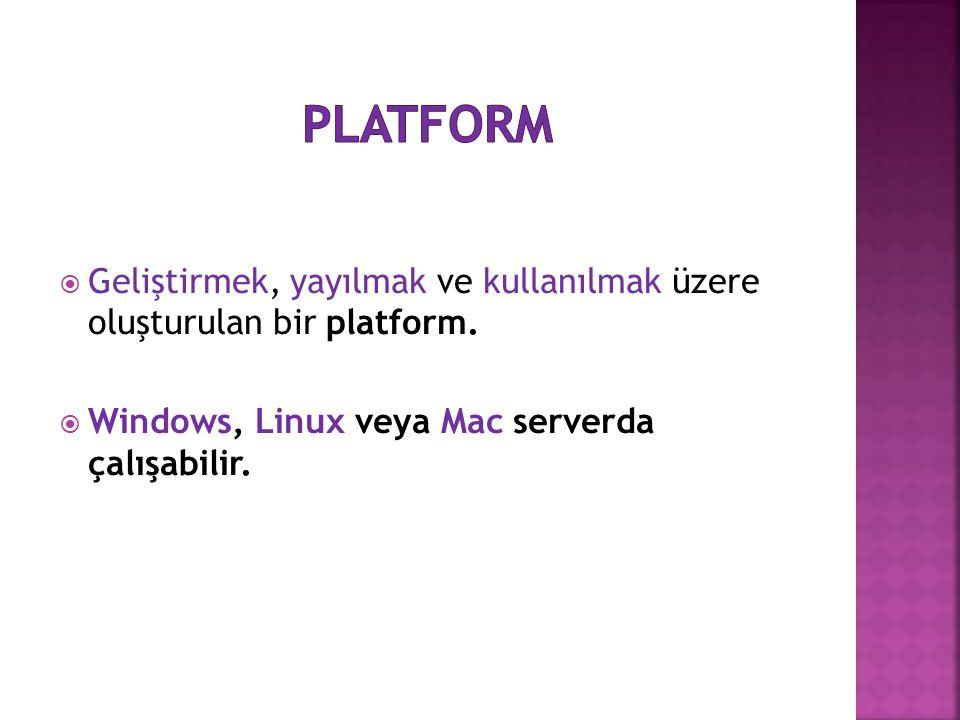 platform Geliştirmek, yayılmak ve kullanılmak üzere oluşturulan bir platform.