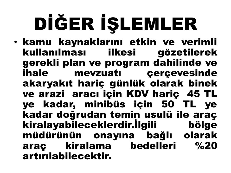 DİĞER İŞLEMLER