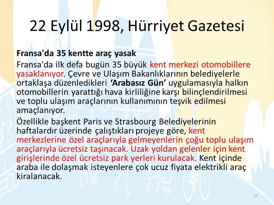 22 Eylül 1998, Hürriyet Gazetesi