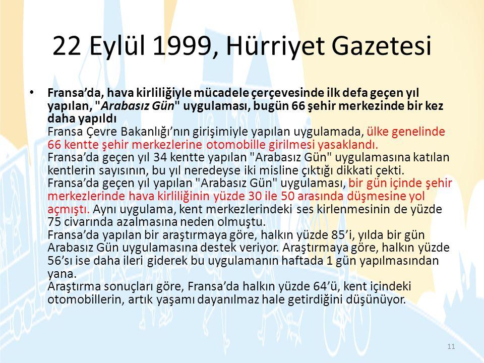 22 Eylül 1999, Hürriyet Gazetesi
