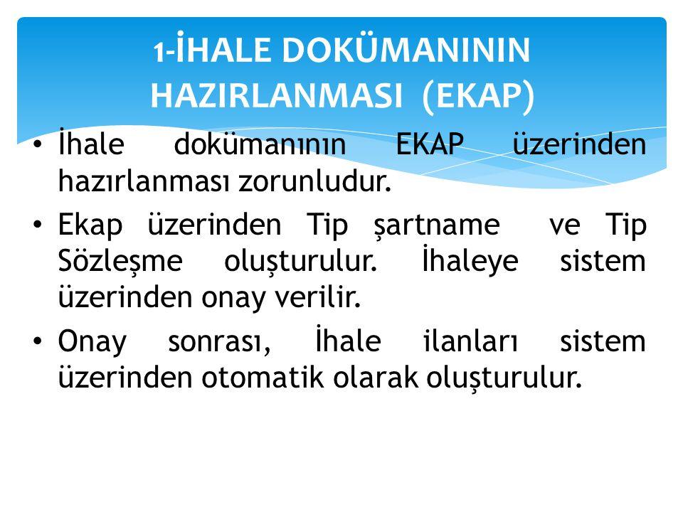 1-İHALE DOKÜMANININ HAZIRLANMASI (EKAP)