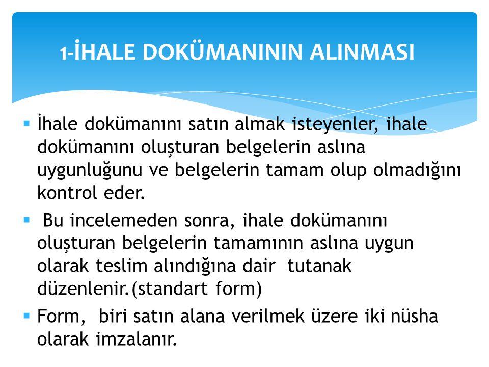 1-İHALE DOKÜMANININ ALINMASI