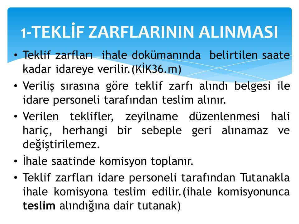 1-TEKLİF ZARFLARININ ALINMASI