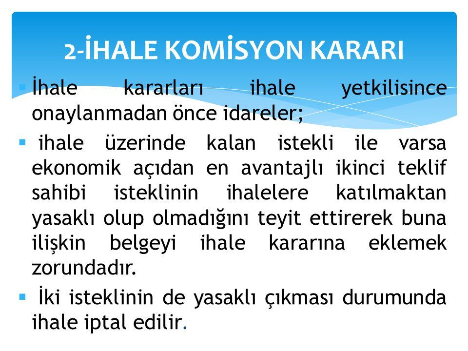 2-İHALE KOMİSYON KARARI