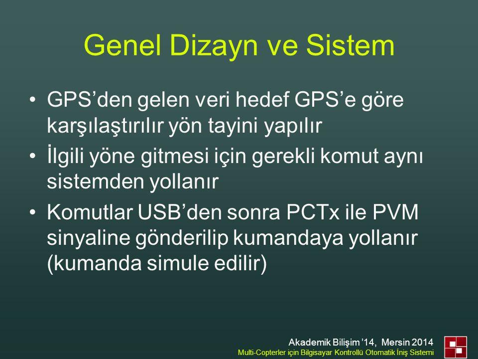 Genel Dizayn ve Sistem GPS'den gelen veri hedef GPS'e göre karşılaştırılır yön tayini yapılır.