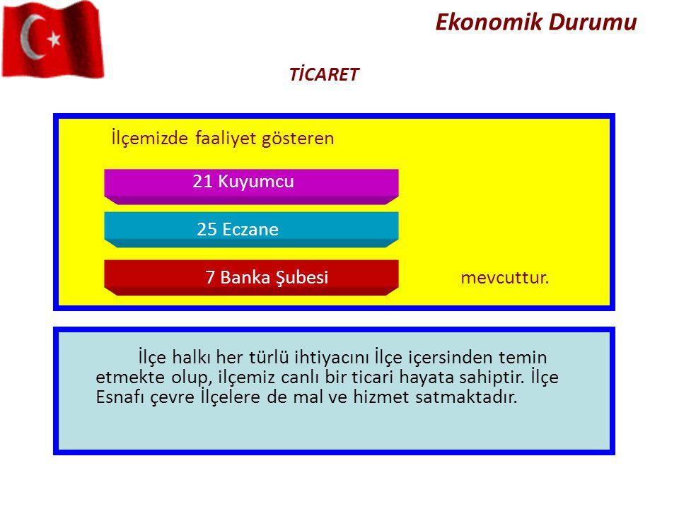 Ekonomik Durumu TİCARET İlçemizde faaliyet gösteren 21 Kuyumcu